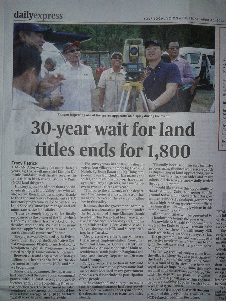Daily Express Article (April 13, 2016) - 30-year wait for land titles ends for 1,800