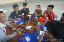 Belia dari suku kaum Dusun Tindal sedang berbincang dan mengenalpasti apakah petanda identiti yang ada bagi suku mereka